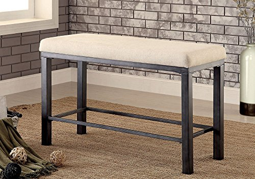 1PerfectChoice Jazlyn Industrial Counter Ht. Dining Long Bench Padded Fabric Seat Metal Frame by 1PerfectChoice