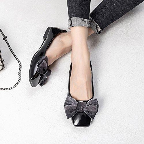 Square Flats 05 Toe on Meeshine Shoes Bowknot Womens Comfort Slip Ballet Black R5SqpnUx