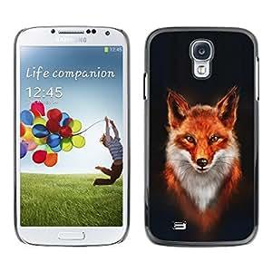 Design for Girls Plastic Cover Case FOR Samsung Galaxy S4 Fox White Orange Red Art Portrait Painting OBBA