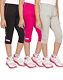 OCEAN RACE Girls Stylish attarctive colors Cotton Capris(3/4 th Pant)-Pack of 3-15176-6/7YRS