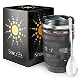 Canon Camera Lens Coffee Mug Stainless Steel Premium - Travel Coffee Mug Insulated Thermos Cup with Black Easy Clean Lid and BONUS Free Clip Spoon + FREE Coffee E-Book by SunrYz