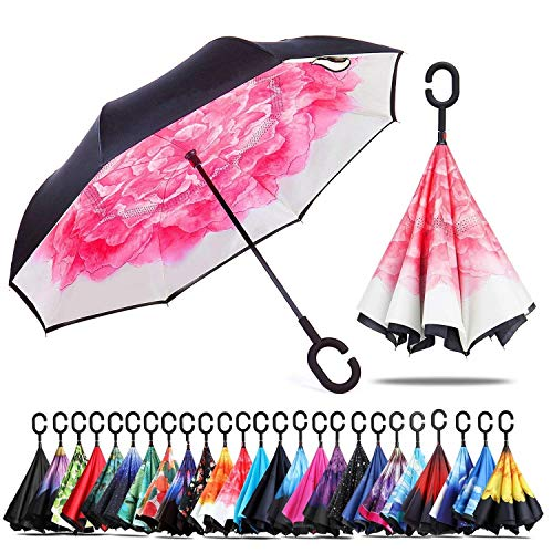 Amersin Double Layer Inverted Umbrella Cars Reverse Open Folding Umbrellas, Windproof UV Protection Large Self Stand Upside Down Straight Umbrella Golf Women Men C-Shaped (pink peony)