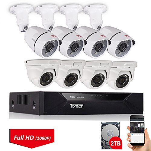 Cheap Tonton 8CH Full HD 1080P Security Camera System, 5-in-1 Surveillance Video Recorder with 4PCS Outdoor Indoor Bullet Cameras and 4PCS Dome Cameras, Face Recognition and Night Vision(2TB HDD Included)