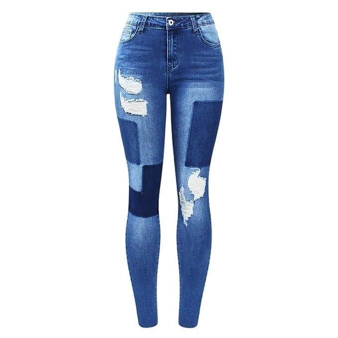 f88d164c9de0f5 HCMONSTER Jeans Jeans con Toppe finte Jeans Donna Jeans Strappati Blu  Pantaloni per Le Donne Jeans Skinny a Matita: Amazon.it: Abbigliamento
