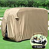 WATERPROOF SUPERIOR BEIGE GOLF CART COVER COVERS CLUB CAR, EZGO, YAMAHA, FITS MOST FOUR-PERSON GOLF CARTS