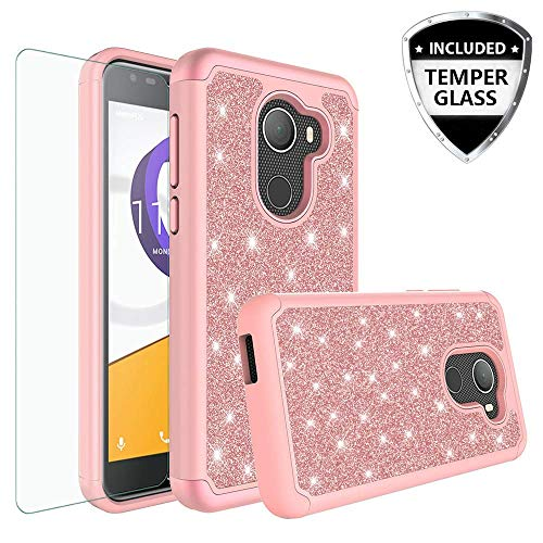 Jitterbug Smart 2 (5.5inch) Case, Glitter Bling Shock Proof Hybrid Case with [Tempered Glass Screen Protector] Dual Layer Protective Phone Case Cover for Jitterbug Smart 2 (2018) - Rose Gold