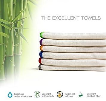 BONDRE 100% bambú Toallitas | eco-Friend lavado de microfibra Toallas de Plato de