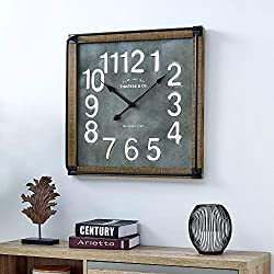 FirsTime & Co. 31089 Liam Industrial Square Wall Clock, 24 H x 24 W, Metallic Gray, White, Black, Antique Brown