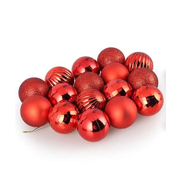 Kranich 32 Palla Rossa per Albero di Natale, infrangibile, Molto Adatta per Decorazioni Natalizie, Decorazioni sospese, Feste, Matrimoni, Feste (5 Finiture, 60mm) 1 spesavip