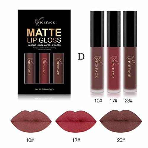 For Chritmas Gift for Women Girls,Sunfei 3PCS New Fashion Waterproof Matte Liquid Lipstick Cosmetic Sexy Lip Gloss Kit (H) New Fashion Makeup Kit