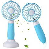 Welltop Dual-purpose Handheld Fan&Table Fan with Removable Base USB Rechargeable Personal Cooling Fans with Pedestal Table Desk Fan for Home Office Dorm and Travel