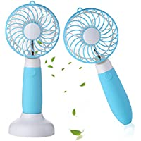 Welltop Dual-purpose Handheld Fan&Table Fan with Removable Base USB Rechargeable Personal Cooling Fans with Pedestal Desk Fan for Home Office Dorm and Travel