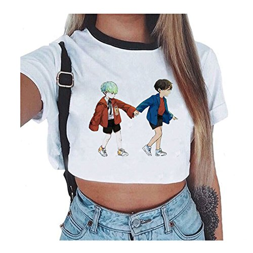 Kpop BTS Femmes Sexy Court Tops Manches Courtes T-Shirt H