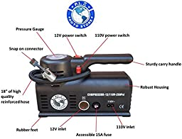 P.I.Auto Store Tire Inflator - Dual Electric Power 12V DC (car) 110V/120V AC (mains). Portable Air Compressor Pump with storage bag - New and improved - Ideal Father\'s Day Gift