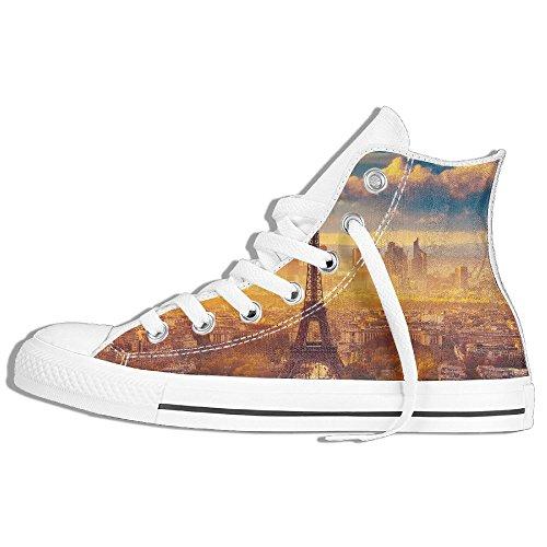 Classiche Sneakers Alte Scarpe Di Tela Antiscivolo Torre Eiffel Casual Da Passeggio Per Uomo Donna Bianco