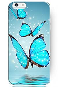 SPRAWL New Beautiful Clear Vintage Design Personalized Hard Plastic Snap on Slim Fit Blue Sparkle Butterfly 4.7 Inch Iphone 6 Case