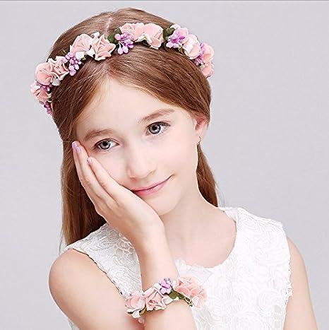 Juego de corona y pulsera de guirnalda de flores y hojas Aukmla Bohemia  para novias y damas de honor  Amazon.es  Belleza e61d4af62cad
