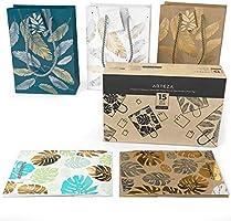 Arteza Bolsas de regalo | 24 x 17,8 x 8,6 cm | Pack de 15 | 2 Diseños de hojas y plumas | 3 Texturas | Bolsas para regalo de cumpleaños y fiestas
