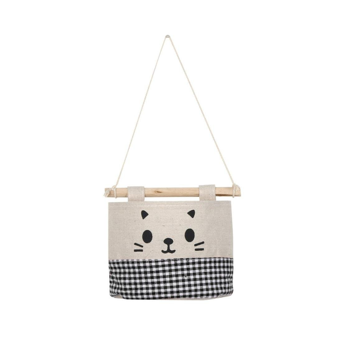 Dacawin Storage Bag-New Cotton Cartoon Cat Hanging Debris Pouch Wall Combination Storage Bag (Black)
