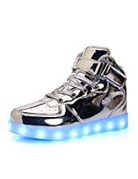 Kids High Top Led Lighting Shoes Boys Light Glow Up Gym Shoes Girls Running Breathable Casual Walking Trainers Sneakers BADIER