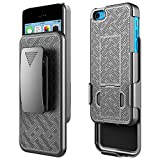 iPhone 5C Case, NageBee Belt Clip Holster Ultra Slim Shock Proof Combo Shell Kickstand Rugged Armor Durable Case -Black