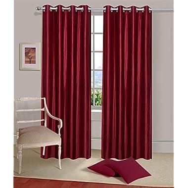 Fancy Grommet/Eyelet Plain Door Curtain Panels for Living Room/Bedroom, Set of 2, 48 by 84 Inch, Maroon Colour