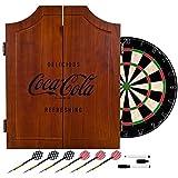 Officially Licensed Vintage Coca Cola Design Deluxe Solid Wood Cabinet Complete Dart Set