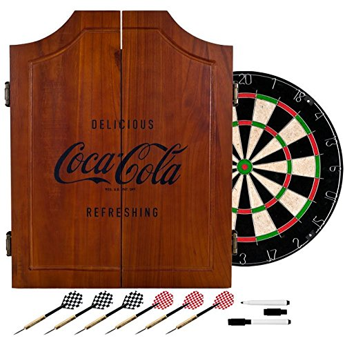 Officially Licensed Vintage Coca Cola Design Deluxe Solid Wood Cabinet Complete Dart Set by TMG