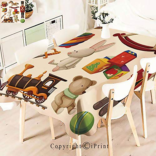 Polyester Custom Tablecloth,Wooden Toys Decor Rocking Horse Soldier for Buffet Table, Parties, Holiday Dinner, Wedding & More,