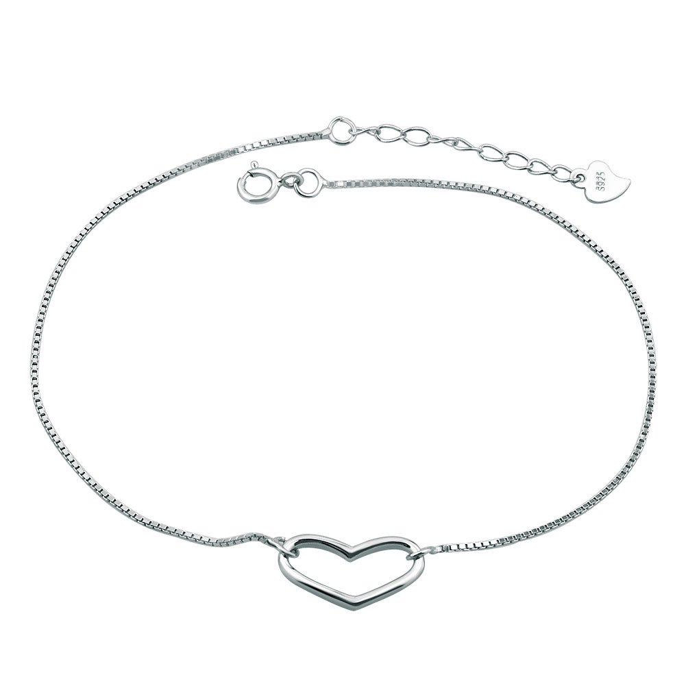 LovelyCharms 925 Sterling Silver Open Heart Love Chain Anklet Ankle Bracelets