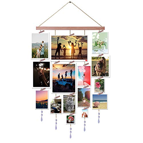 LEVOSHUA Picture Hanging Display, Photo Holder, Wood Picture Frames Collage for Wall Decor with Clothspin Clips, Golden Chain Wire, Crystal Pendant - 16x33 inches (Prism)