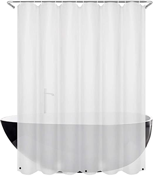 """72/"""" Long Magnets FROSTED CLEAR Vinyl Shower Curtain Liner Metal Grommets"""