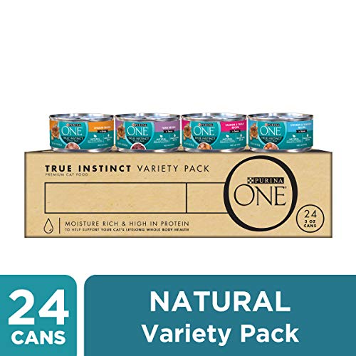 Purina ONE Natural, High Protein Wet Cat Food Variety Pack; True Instinct Tuna, Chicken & Salmon Recipes - (24) 3 oz. Cans ()