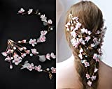 Kercisbeauty Simple Handmade Bridal Bridesmaids Flower Girl Gold Hair Clips Pink Blush Cherry Flower Blossom Cloth Flower Hair Pins Headpiece for Wedding and Party,Long Curly Bun Hair Accessories,Wedding Vintage Rhinestone and Beads Hairpins Bridal Flower Girl Gold Hair Pins