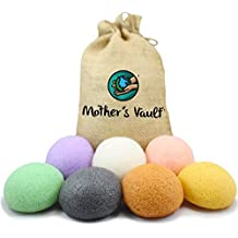 Organic Skin Care Exfoliating Konjac Sponge By Mother's Vault - All Natural Beauty Supply Prevents Breakouts While Exfoliating & Toning for a Better Complexion (1xEach(7 total)) by Mother's Vault