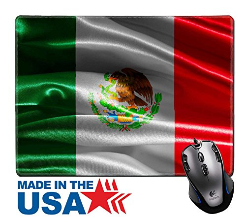 """MSD Natural Rubber Mouse Pad/Mat with Stitched Edges 9.8"""" x 7.9"""" IMAGE ID 29282357 Mexican flag fabric with waves"""