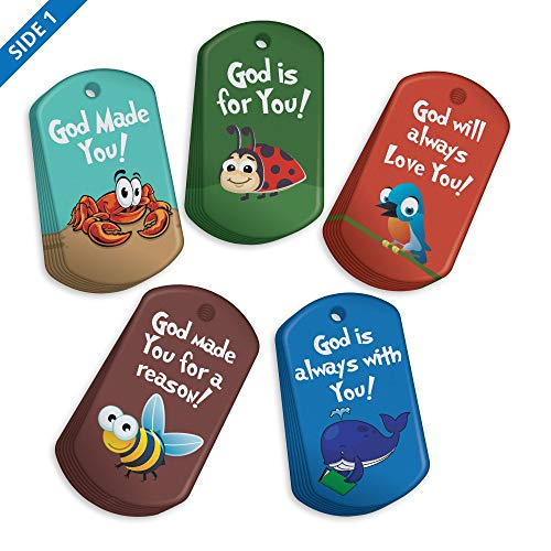 Vacation Bible School (VBS) Bible Verse Brag Tag Value Pack: 100 Tags (20 Tags for Each Design) + 25 Chains