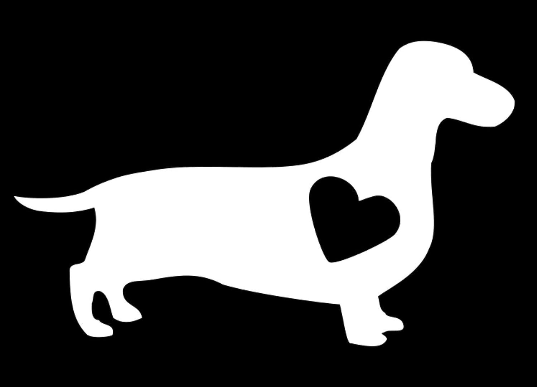 CMI Dachshund Dog with Heart Vinyl Decal Bumper Sticker White, 6