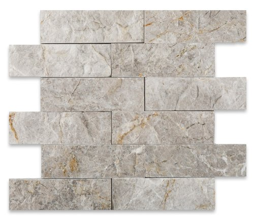 SILVERADO GRAY 2X6 Marble SPLIT-FACED Mosaic Tile