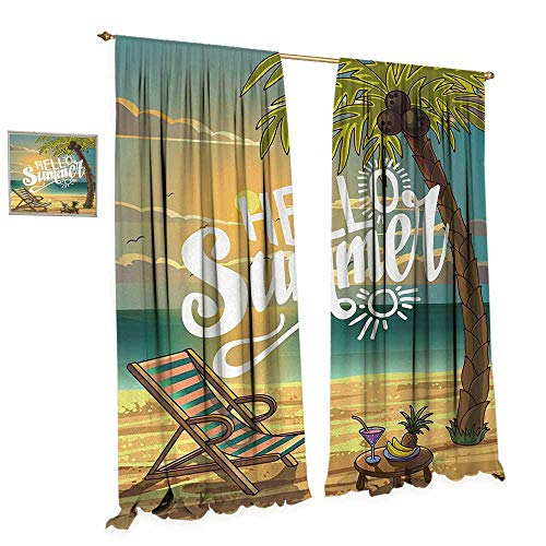 Anniutwo Hello Blackout Window Curtain Seashore with Palm Tree and Chair Illustration with Hello Summer Calligraphy Print Customized Curtains W96 x L108 Multicolor ()