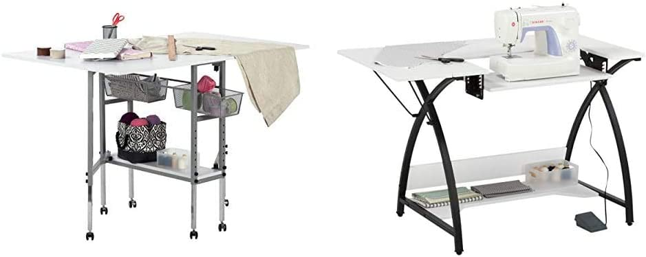 Sew Ready Studio Designs Folding Multipurpose Cutting Table with Drawers, Silver/White & Comet Sewing Table Multipurpose/Sewing Desk Craft Table Sturdy Computer Desk, 45.5