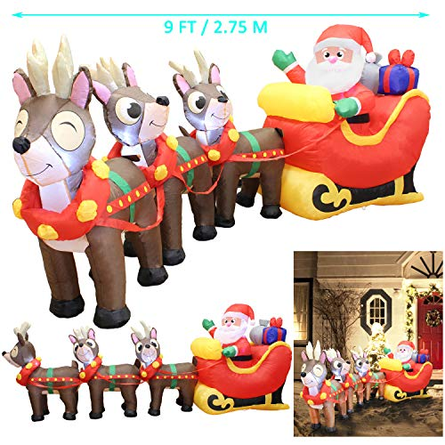 Joiedomi 9.5 Foot Inflatable Santa Claus on Sleigh