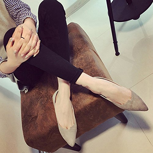 Kvinnor Skor, Woopower Tillfälliga Tå Balett Lägenheter Halka På Mocka Stilett Dagdrivare Ärtor Skor Grå