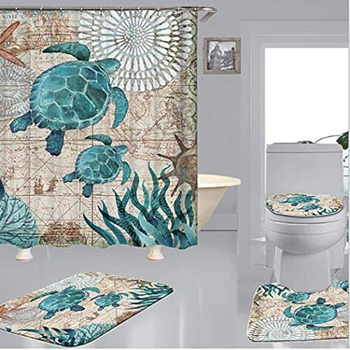 Fanxis 16 Pieces Sea World Sea Turtle Pattern Shower Curtain Set - Toilet Pad Cover Bath Mat Shower Curtain Set,4 Pcs Set - 1 Shower Curtain with 12Pieces Hooks & 3 Toilet Mat and Lid Cover 3 Piece Bath Shower