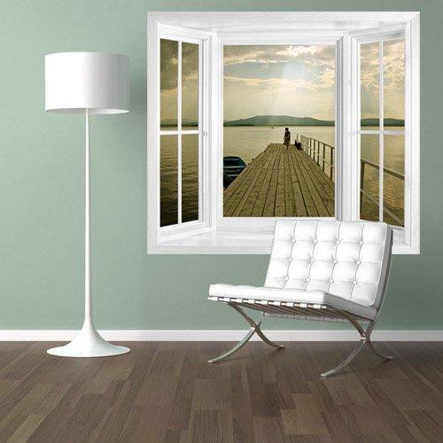 Fototapete fensterrahmen  WIM149 - Blick über den See abziehen und aufkleben Fenster ...