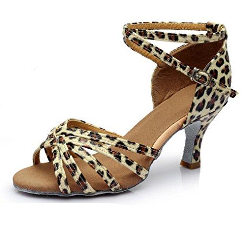 América Zapatos De Baile Zapatos De Baile Sólo Femenina Interior Suave Satén Inferior Leopard cinco series 5cm