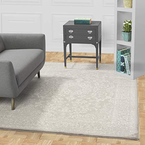 "DIAGONA DESIGNS Contemporary Oriental Medallion Design Area Rug, Gray/Ivory, 94"" W X 118"