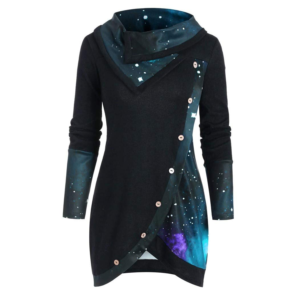 Wave166/® Women Hoodie Dress Stylish Button Design Irregular Hem Sweatshirt Dress Long Sleeve Cowl Neck Galaxy Print Dress Steampunk Sweatshirt High Neck Blouse Dress