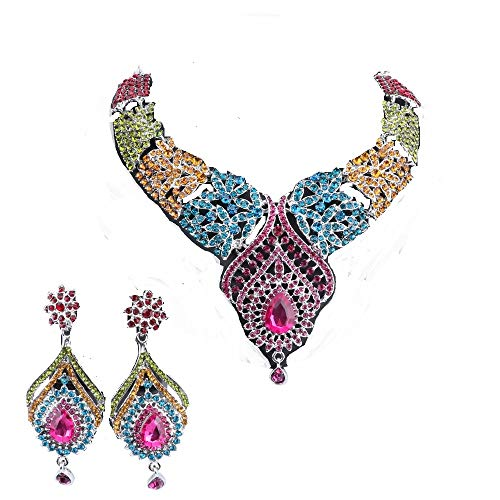 Women's Elegant Austrian Crystal Statement Necklace Earrings Jewelry Set for Wedding Dress and Boxes (Silver Colorful)