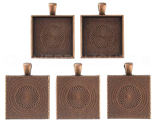 - CleverDelights 20 Square Pendant Trays - Antique Copper Color - 1 Inch - 25mm - Pendant Blanks Cameo Bezel Settings Photo Jewelry - Custom Jewelry Making - 1